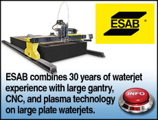 ESAB waterjet with gantry cutting tables