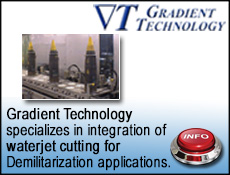 Gradient Tech integrates waterjet cutting for Demilitarization applications
