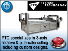 PTC designs 3-axis abrasive & pure water glass cutting